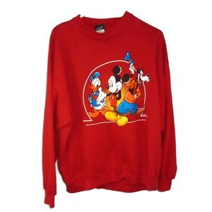 Vintage Disney Sweat Shirt Pull Over Red XL *Flaw